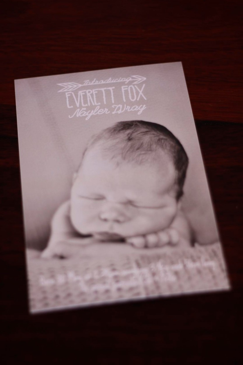 red eclectic baby birth announcement design