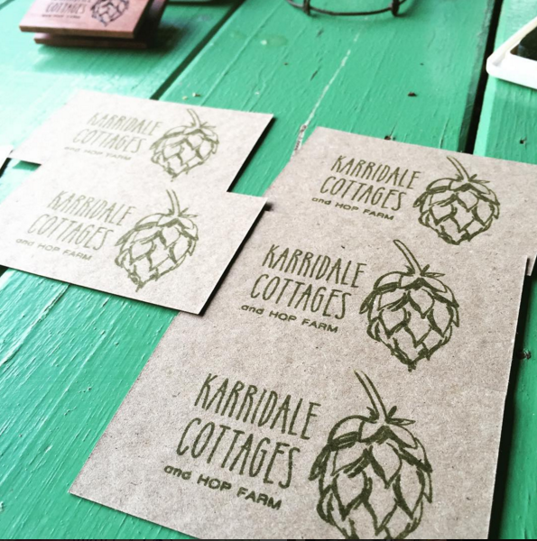 karridale cottages hand stamped business cards on recycled stock