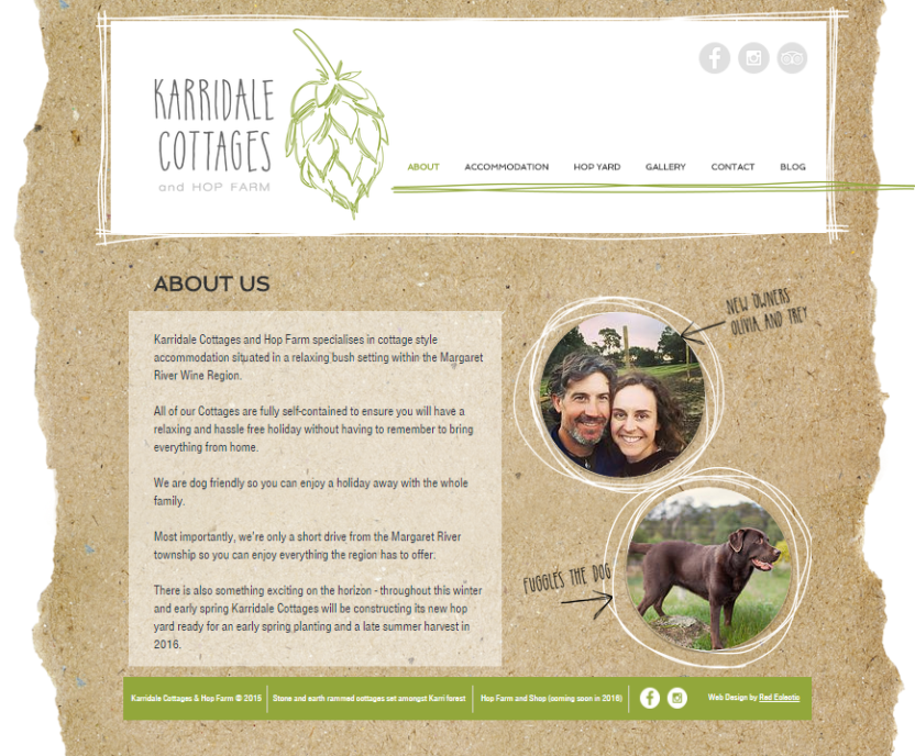 karridale website - about us page